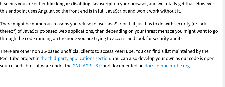 PeerTube when JavaScript is blocked
