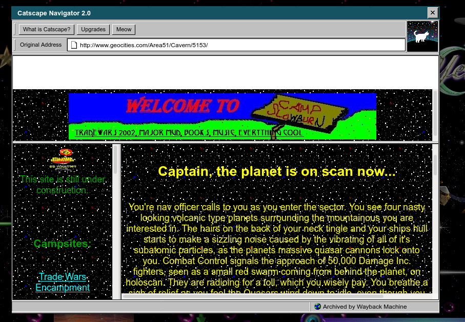unreadable geocities page